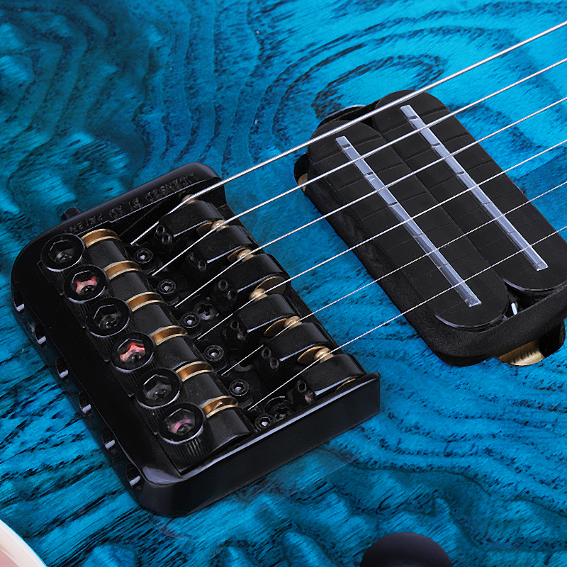 24 Frets Blue ASH Wood Solid Flame Maple Neck Fingerboard Electric Guitar