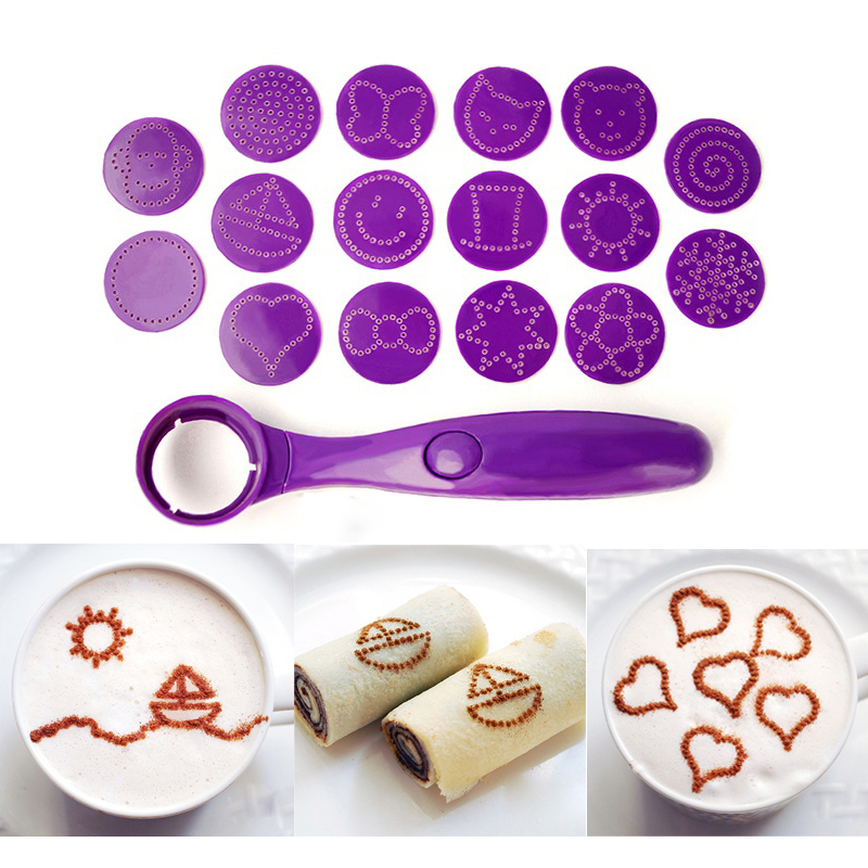 New Coffee Tools Electrical Latte Art Stencils Coffee Magic Spice Spoon Carving Spoon Baking Pastry Tool Foods Piping Spoons Cake Mold Decor