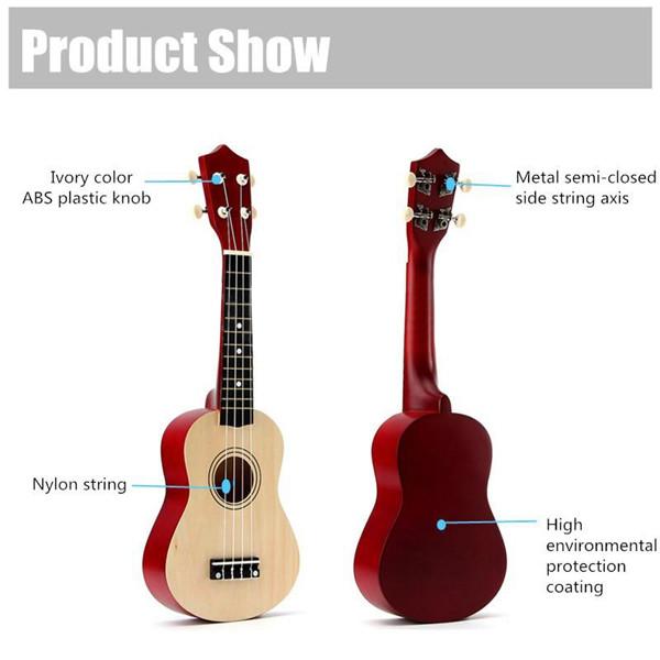 21 Inch Acoustic Soprano 4 String Mini Basswood Ukulele Musical Instrument Toy