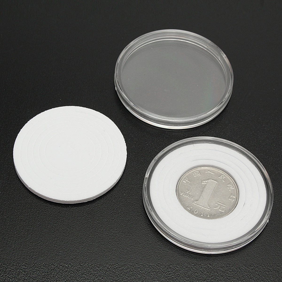 20Pcs Clear Round Coins Holder 46mm Capsules Stroage Case Box Container Display Collection