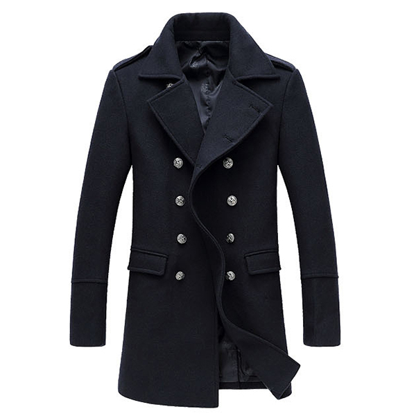 Winter Stylish Business Slim Mid Long Double Breasted Woolen Pea Coat for Men