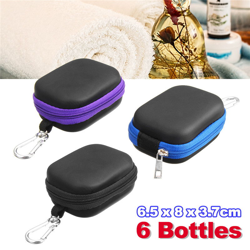 1pc 6 Bottles Essential Oil Storage Bag Camping Travel Portable Anti-collision Aromatherapy Box