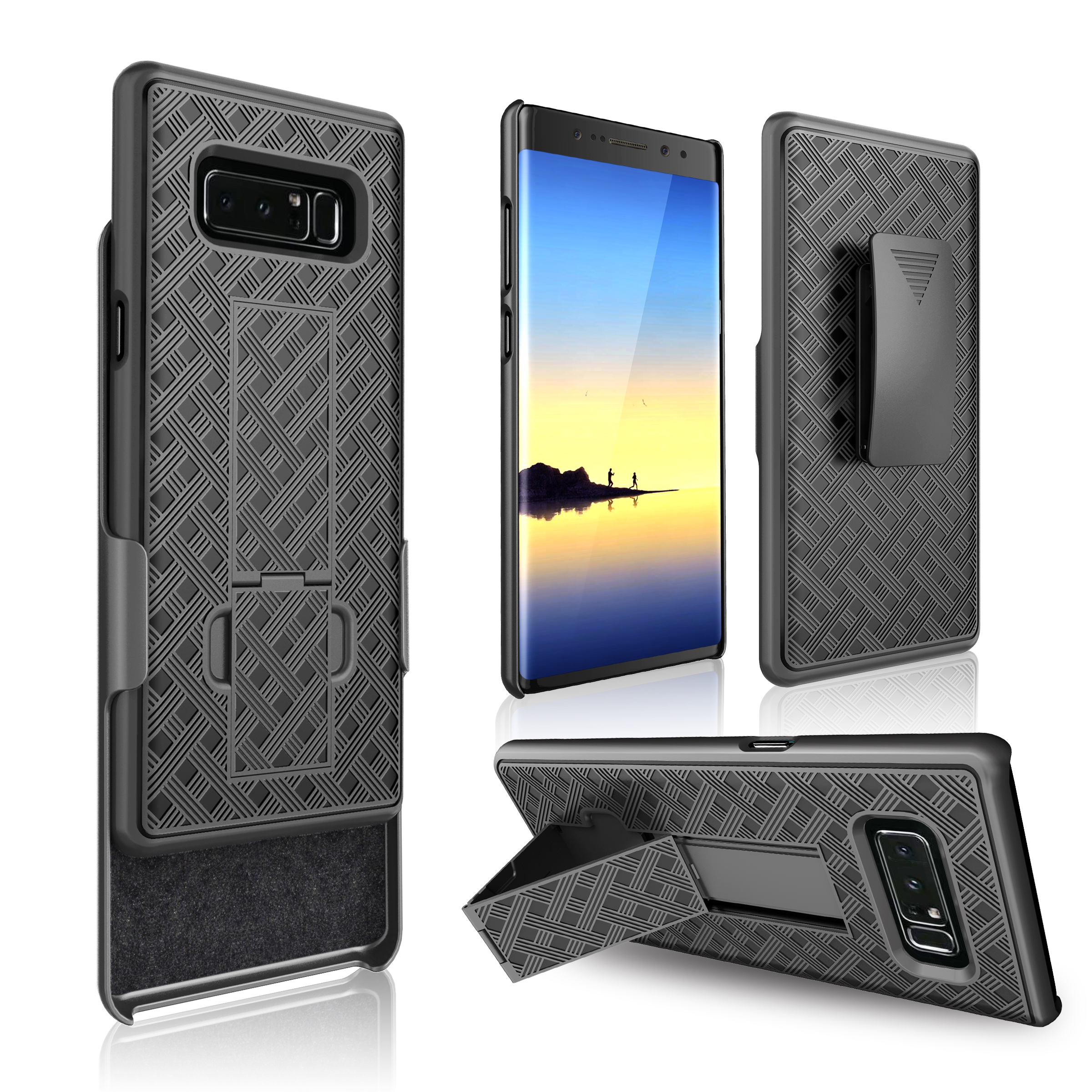 Bakeey 3 in 1 Woven Armor Belt Clip kickstand Protective Case for Samsung Galaxy Note 8