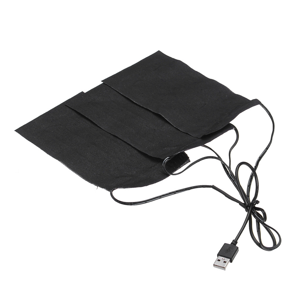 Black 3in1 5V Electric USB Heating Pads Waterproof Carbon Fiber Heater Jackets Clothes Winter Warmer