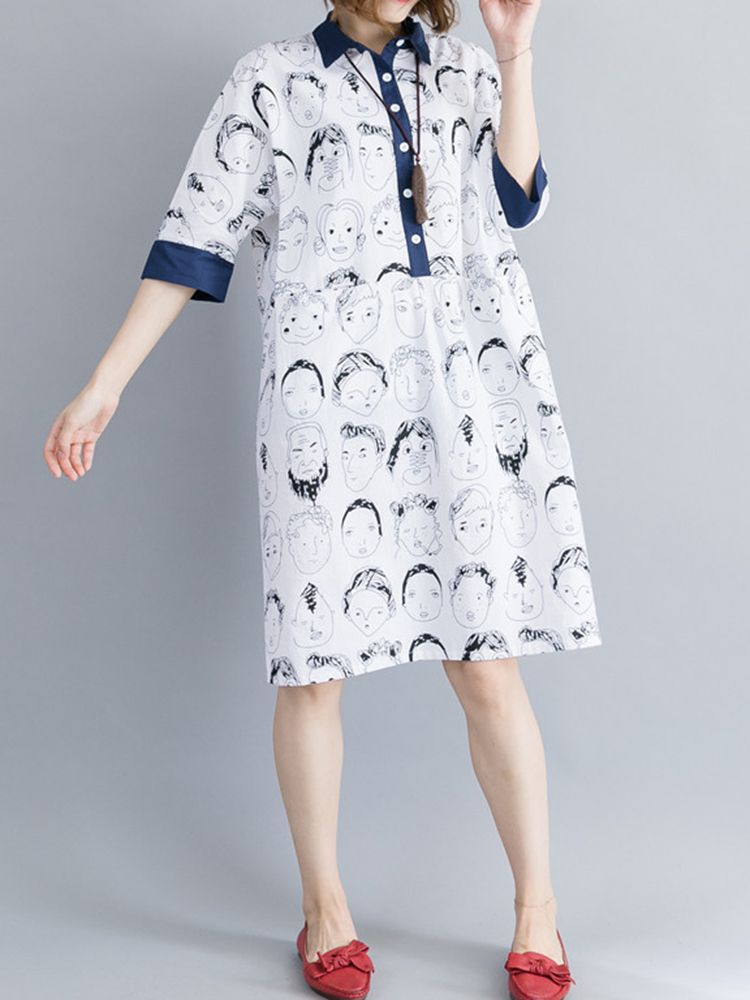 Women Cartoon Loose Half Sleeve Button Dress with Pocket