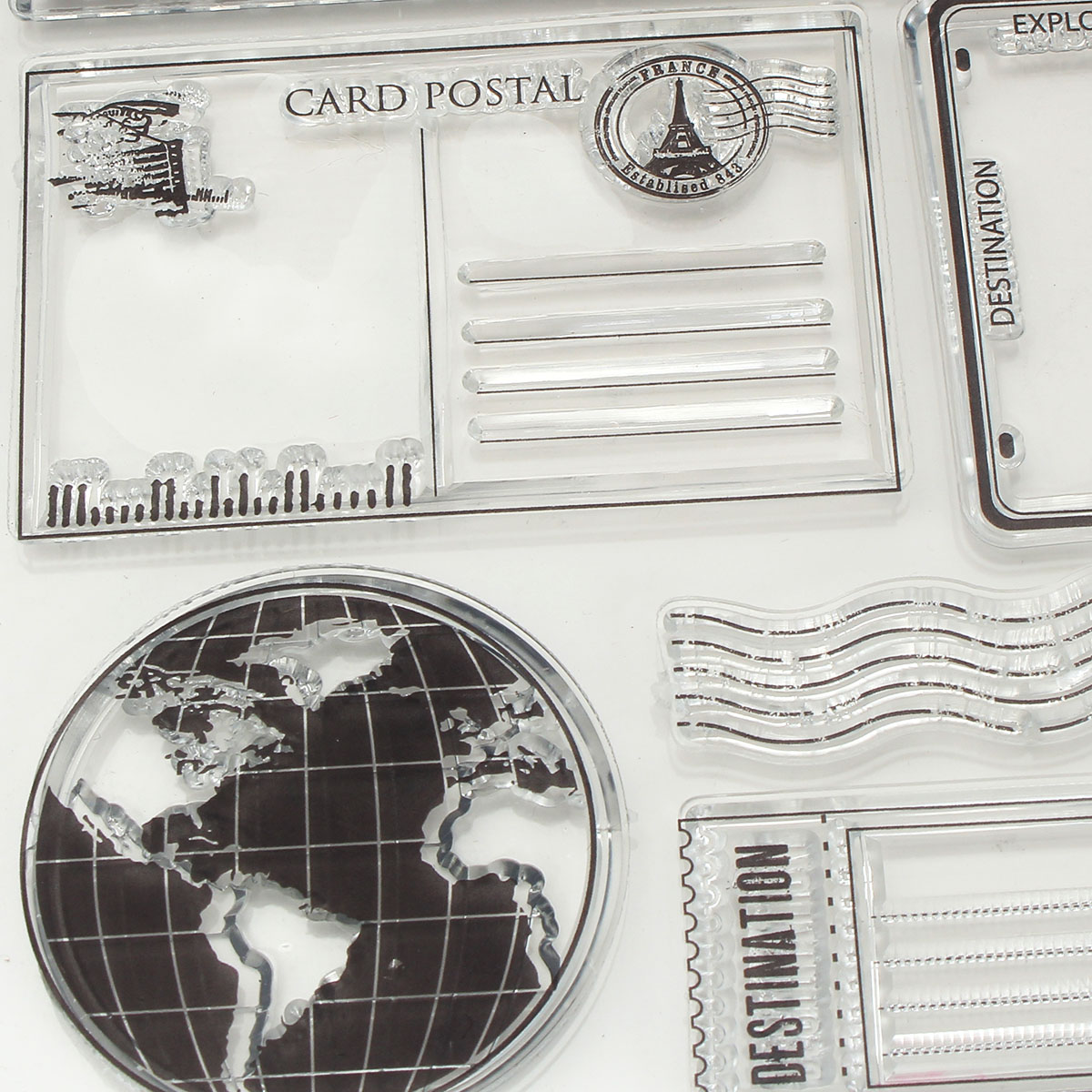 Vintage Postcards Postmark Pattern Scrapbook DIY Photo Album Cards Transparent Silicone Clear Stamps