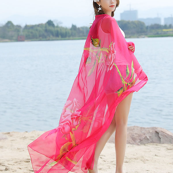 Women Summer Chiffon Rose Printed Beach Towels Thin Soft Shawl Scarf