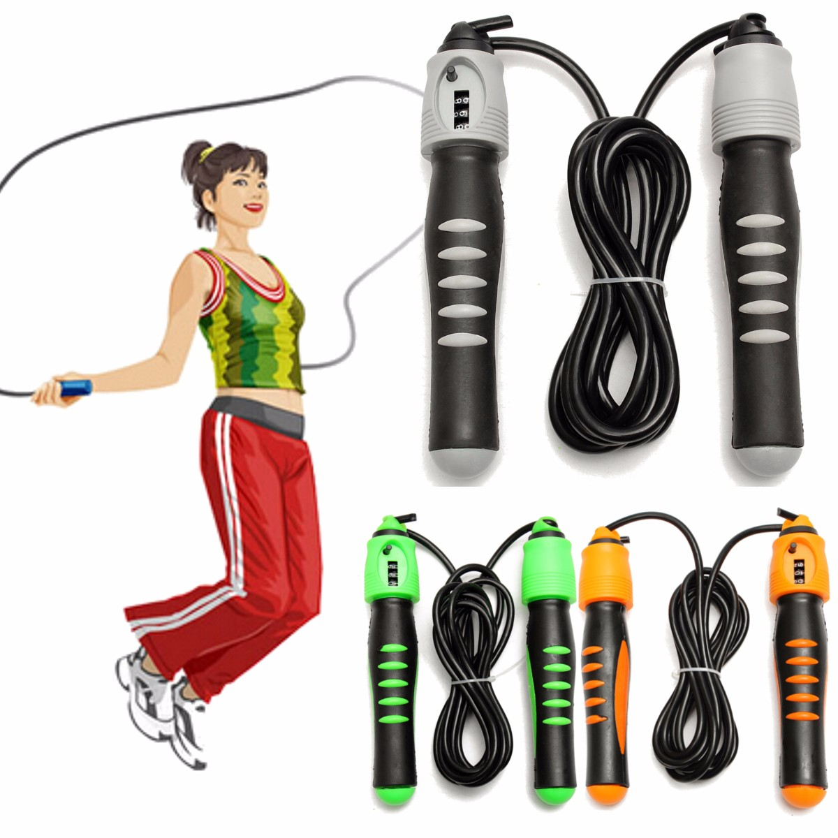 Jump Speed Exercise Skipping Rope With Counter Boxing Gym Fitness