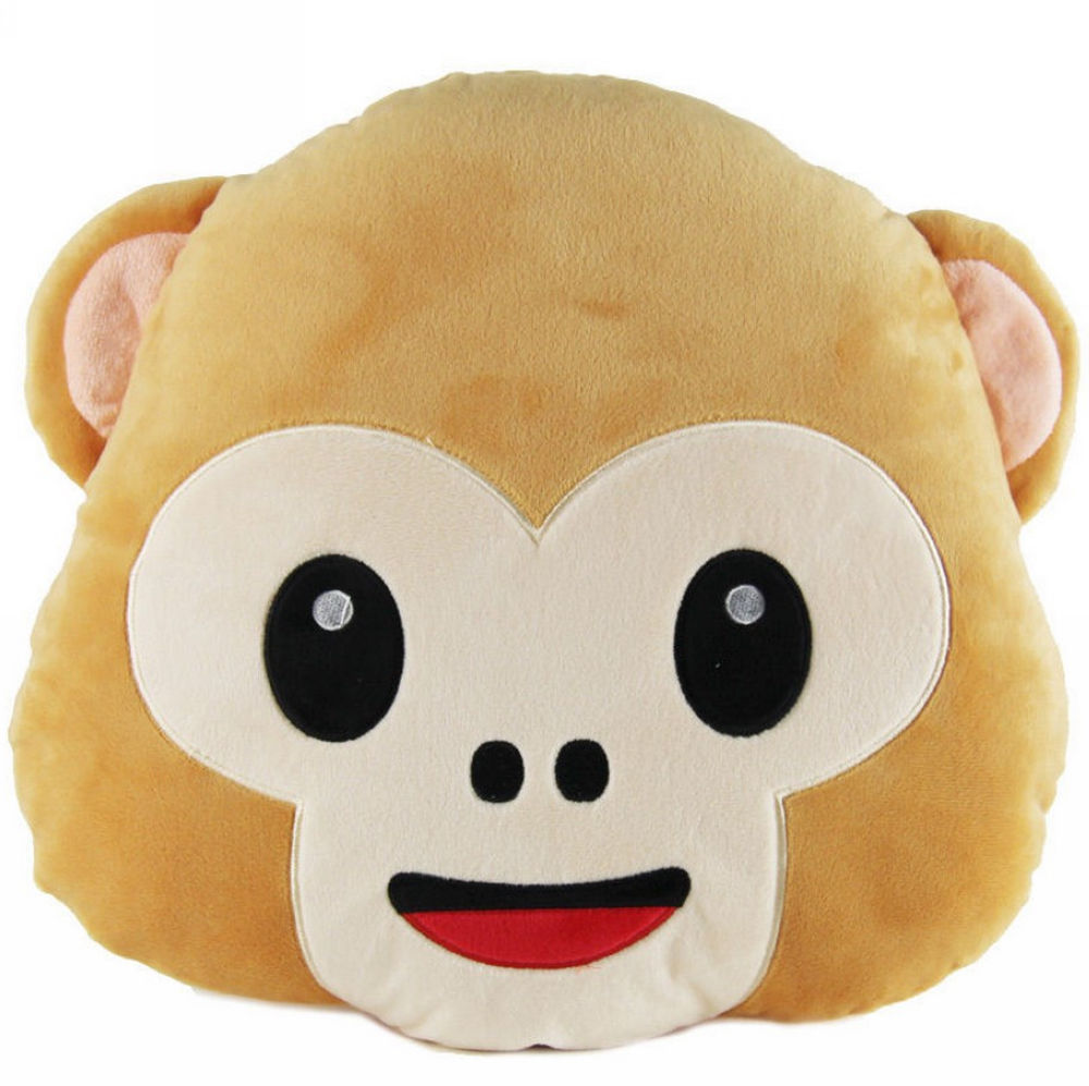 40cm Lovely Emoji Monkey Throw Pillow Plush Stuffed Cushion Office Home Sofa Decoration Gift