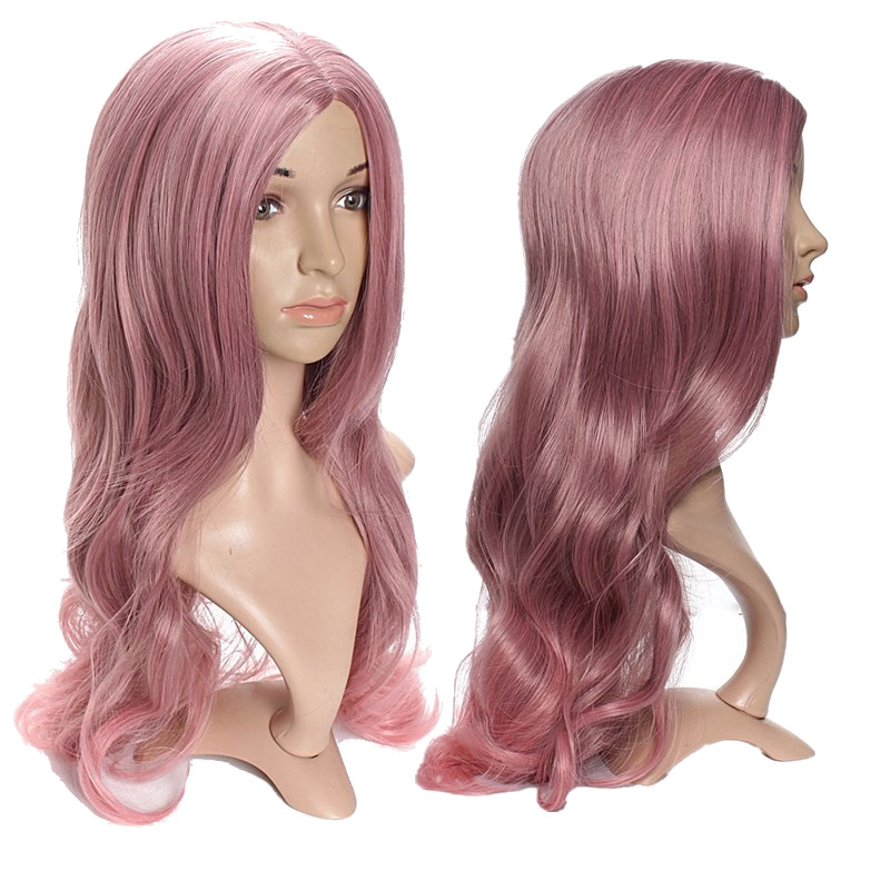 65cm Gray Pink Lolita Cosplay Hair Wig