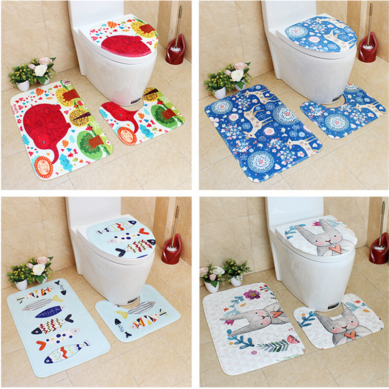 3Pcs Bathroom Cartoon Flannel Toilet Pad Digital Printed PVC Latex Net Bottom Anti-slip Mat Set