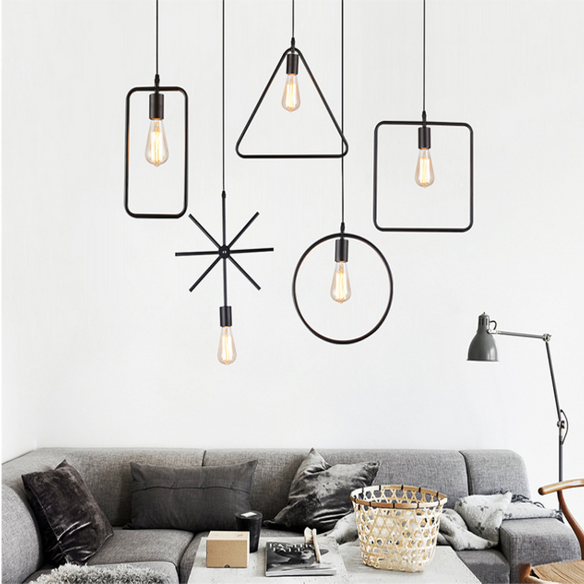 E27 Geometric Hanging Light Industrial Ceiling Pendant Lamp Lampshade Fixture