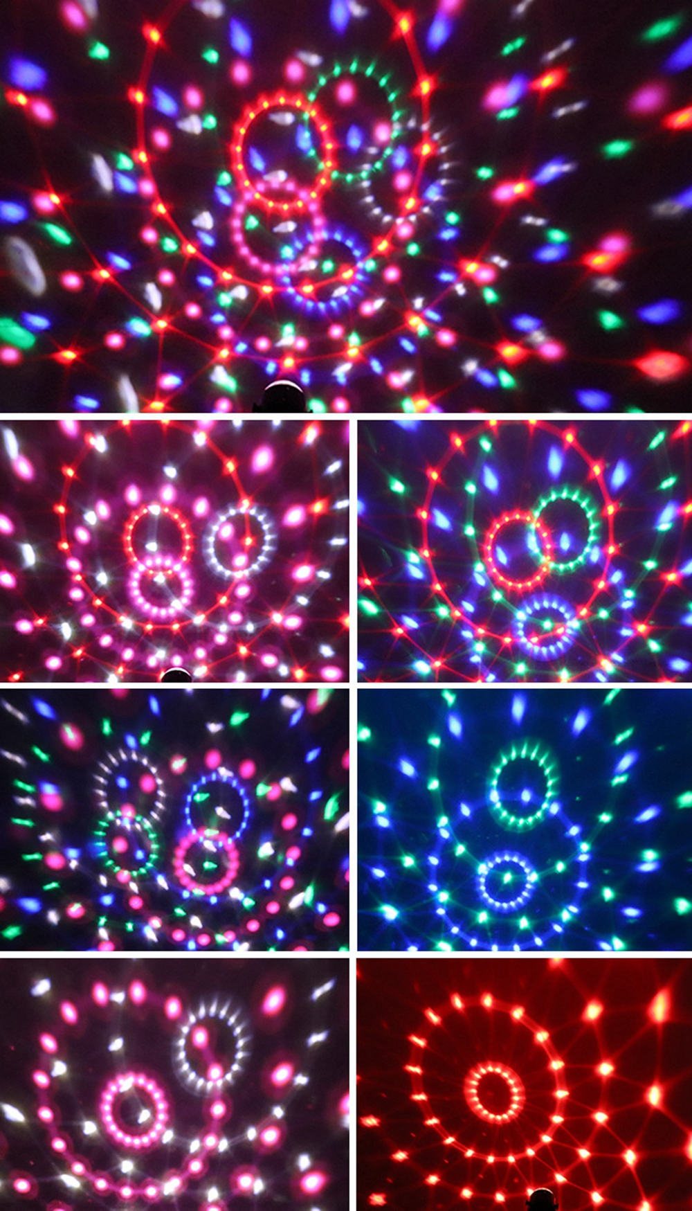 6 Colors USB DC5V 6W LED Magic Ball Stage Light Sound Activated Remote Control Projector Lamp for Car Room Club DJ Disco