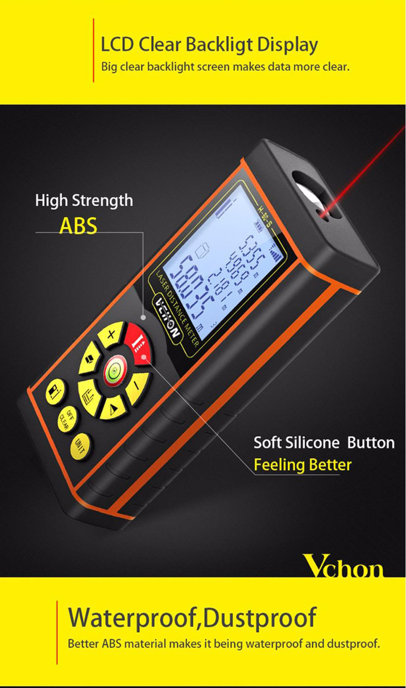 VCHON High Precision 40M/60M/80M/100M Laser Range Finder Distance Meter Tape Measure Rangefinder
