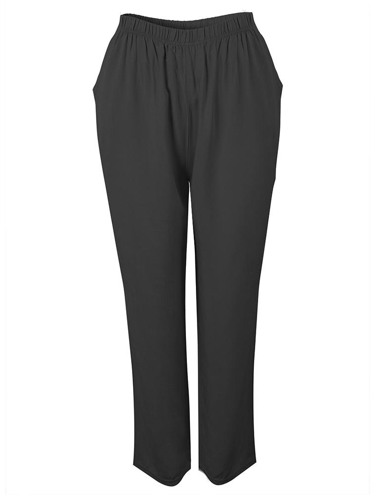 Loose Women Solid Plain Elastic Waist Pants