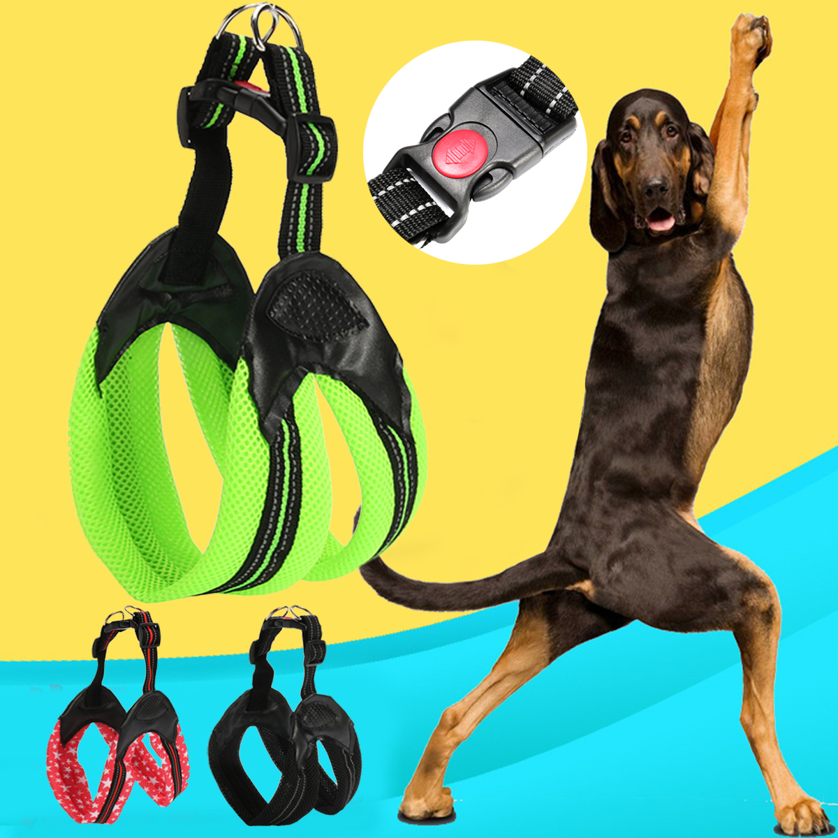 Reflective Mesh Padded Pet Dog Harness Chest Strap with Soft Padded Safety Lock Buckle