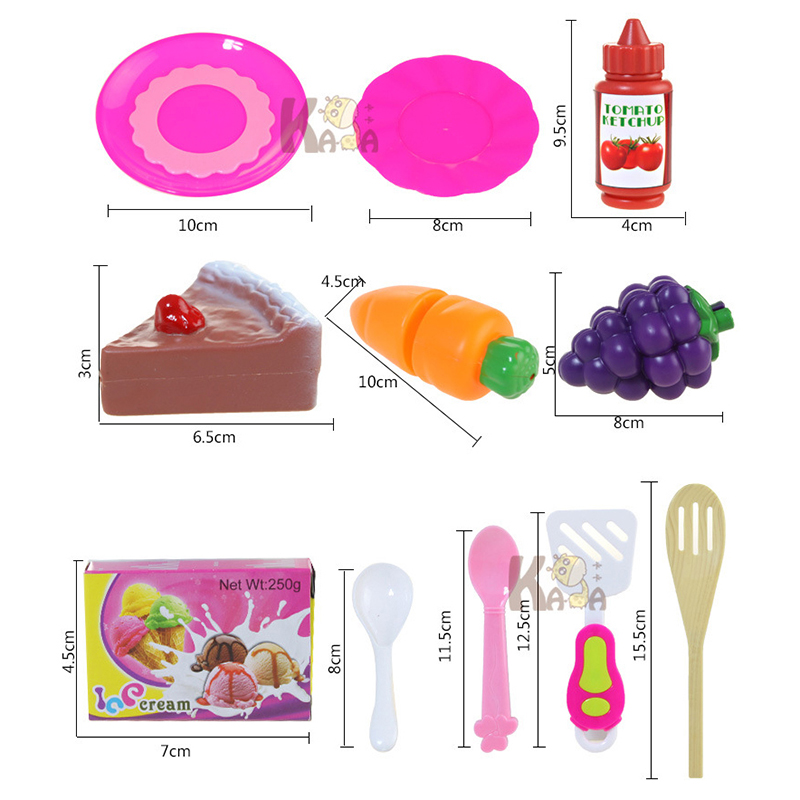 54PCS Kids Play House Toys Girl Light Music Tableware Sets Baby Kitchen Cooking Toys