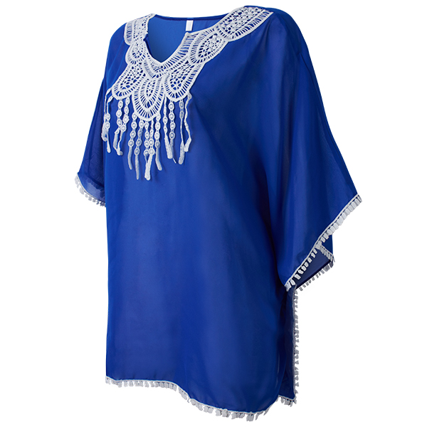Summer Sexy Vintage Tassel Lace Crochet Beachwear Cover-Up For Bikini
