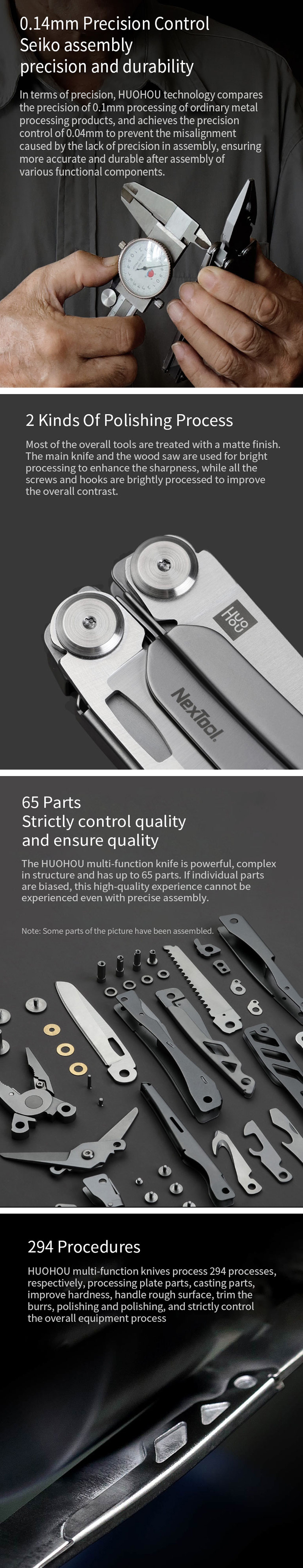 HUOHOU Multi-function Cutter 15 Functions Folding Bottle Opener Screwdriver / Pliers / Scissor / Wood Saw Tools Kit from xiaomi youpin