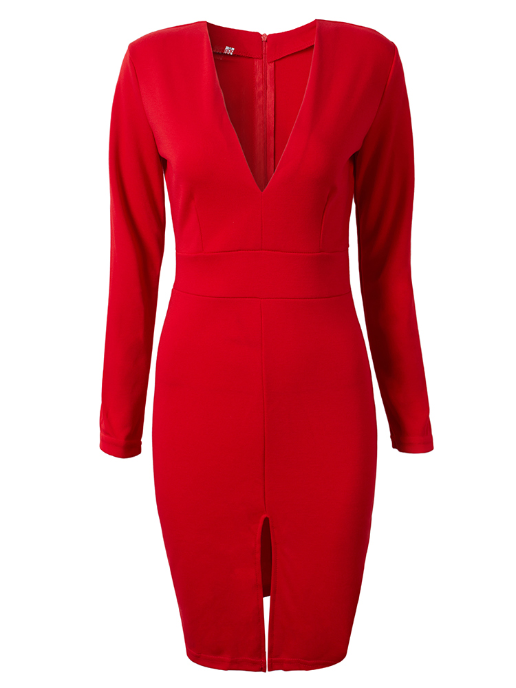 Sexy Women V Neck Split Work Party Bodycon Pencil Dress