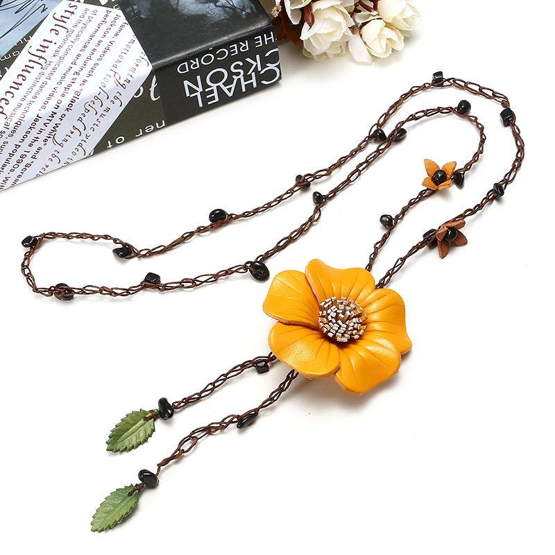 Ethnic Body Jewelry Leather Flower Tassel Long Necklace Waist Chain Belt for Women