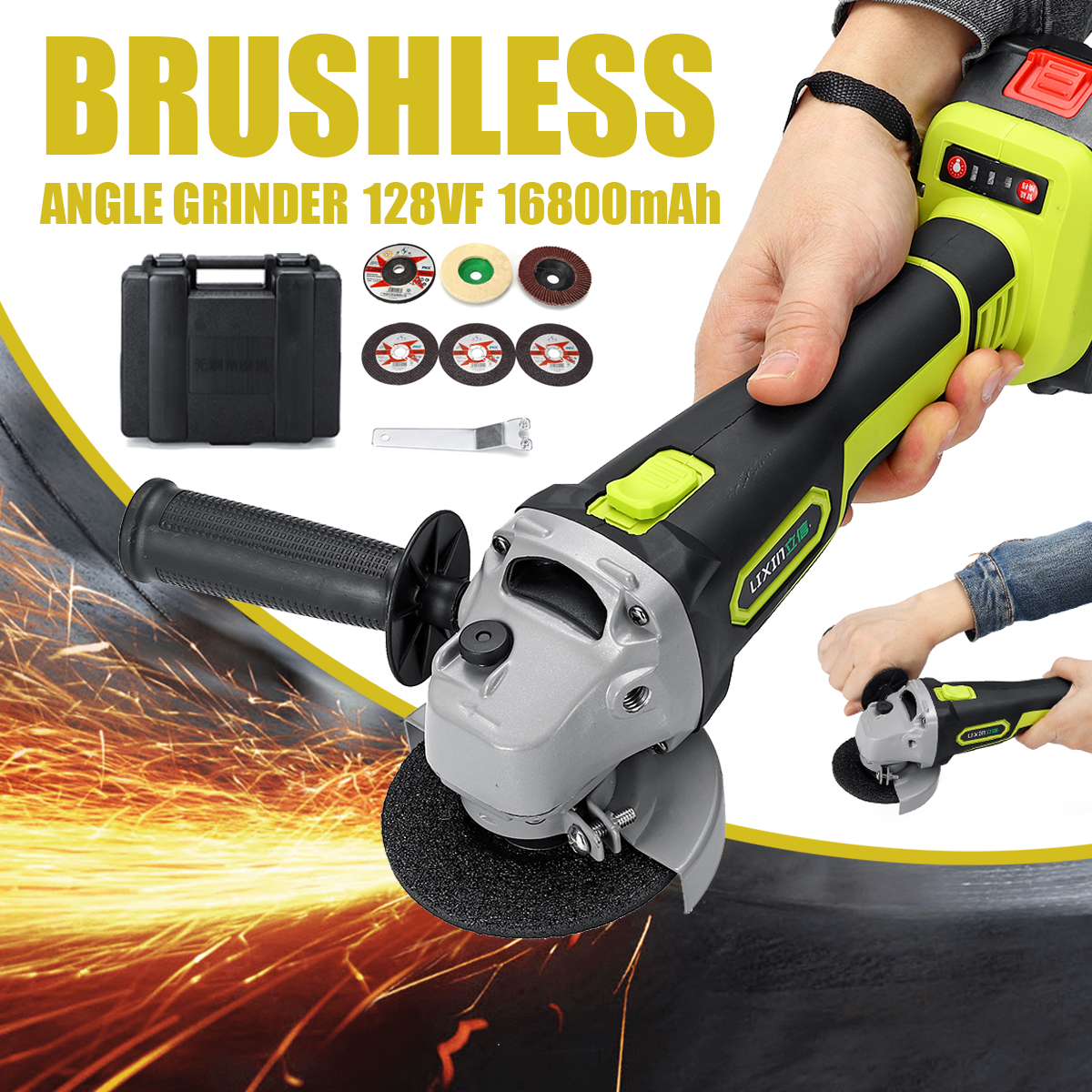 128VF 16800mAh Cordless Electric Angle Grinder Brushless Power Cutting Angle Grinding Tool with Li-ion Battery& Charger