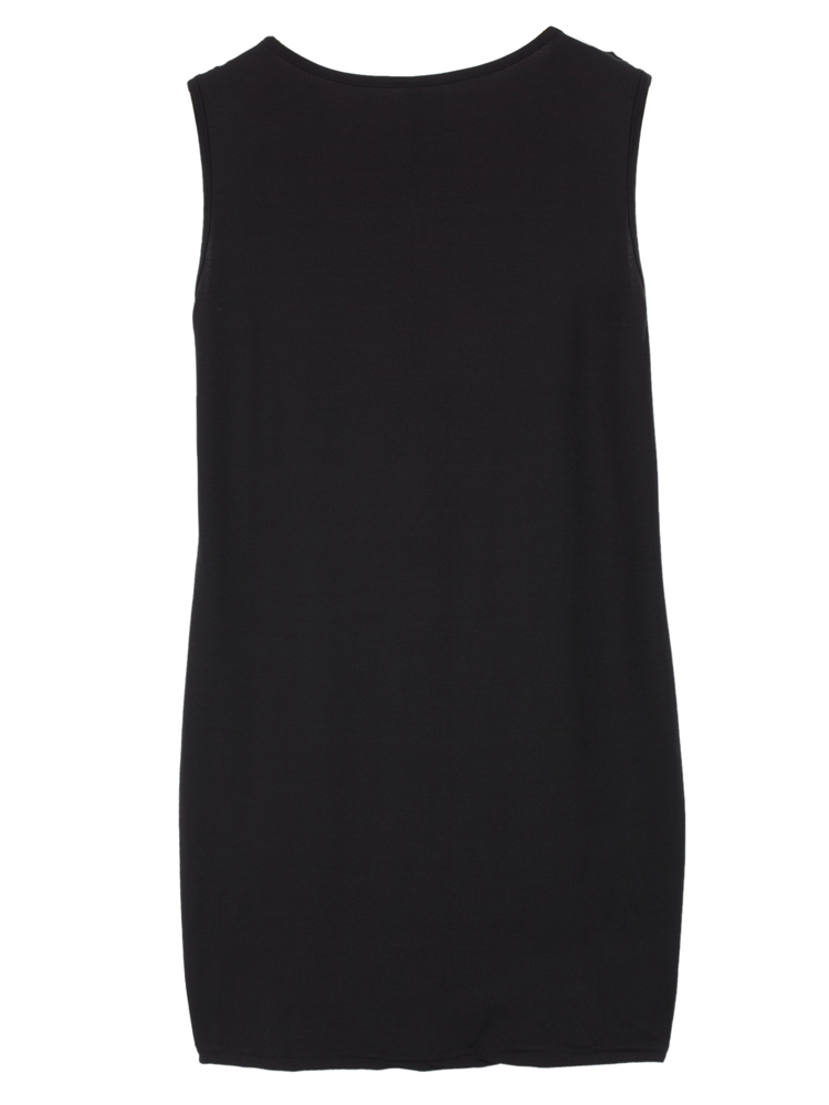 Sexy Women Sleeveless Hollow PU Patchwork Party Bodycon Mini Dress