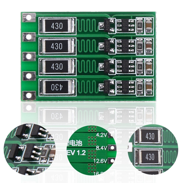 4S 16.8V BMS PCB 18650 Lithium Battery Charger Protection Board Balancing Board Balanced Current 100mA