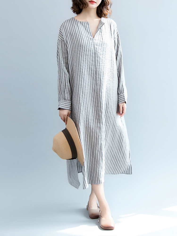 Plus Size Women Casual Long Sleeve Side Split Stripe Dress