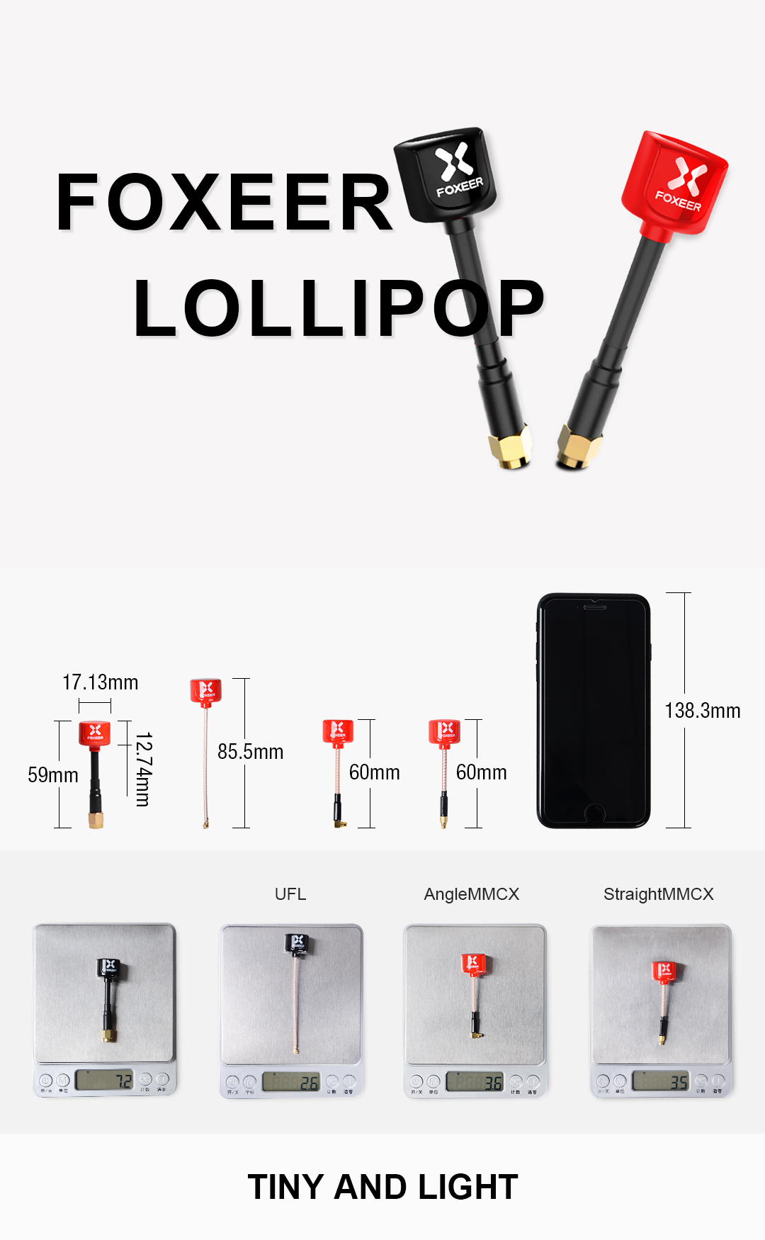 2pcs Foxeer Lollipop 85.5mm 5.8G 2.3dBi RHCP UFL Super Mini FPV Antenna Red/Black For RC Drone