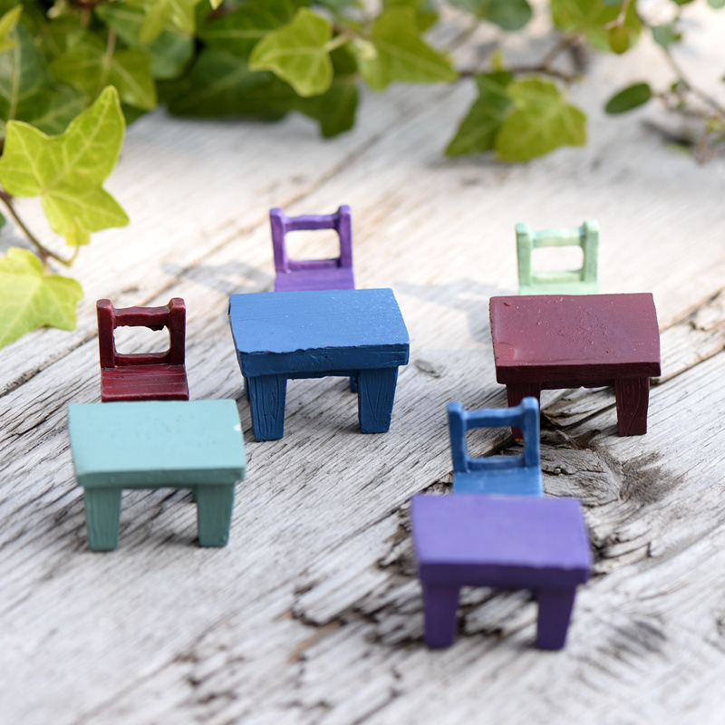 Mini Resin Stool Chair Desk Figurine Micro Landscape Ornament Gardening Decoration DIY Bonsai Craft