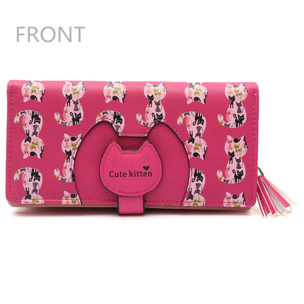 Women Cartoon Cat Tassel Long Wallet Girls Cute Animal Purse Card Holder Coin Bags
