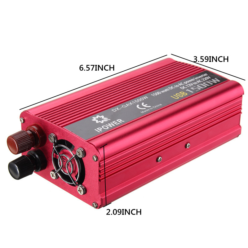 Dual USB 1500W Car DC12V to AC220V Power Inverter Charger Converter Boat Car