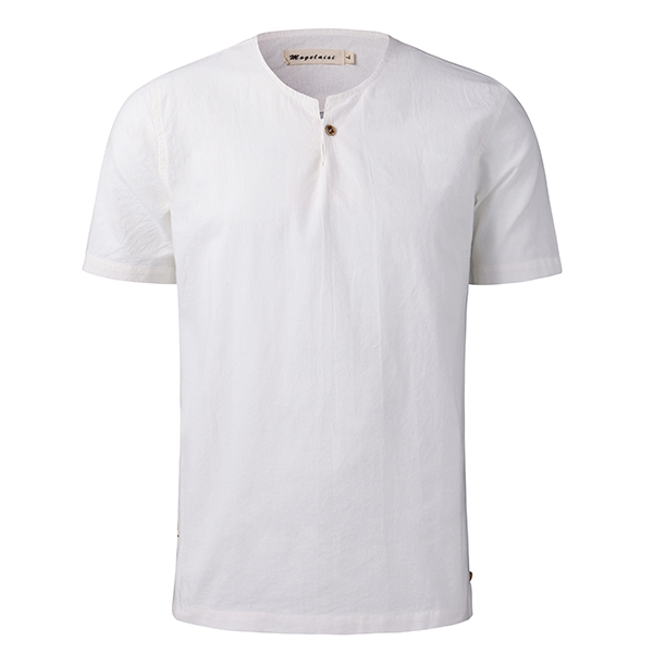 Spring Summer Chinese Wind Cotton Linen T-shirt Mens Casual Straight Short Sleeved T-shirt