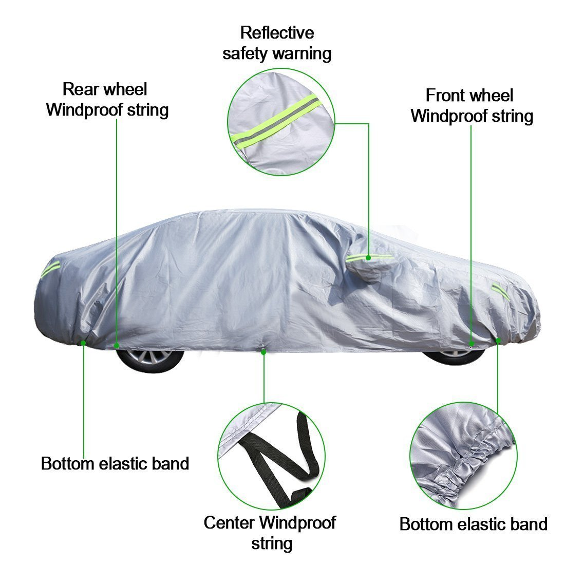 MATCC Car Cover Waterproofe Auto Cover All Season All Weather Fit Most of Cars (470*180*150cm)