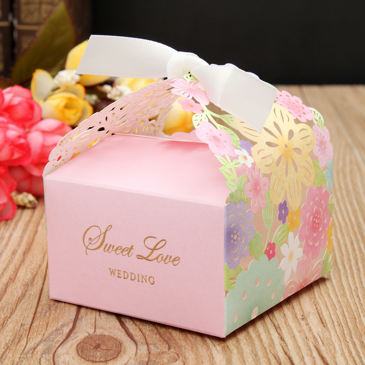 1 PCS Laser Cut Pink Flower Candy Box Floral Hollow Out Sweet Cake Gift Bags Party Supplies