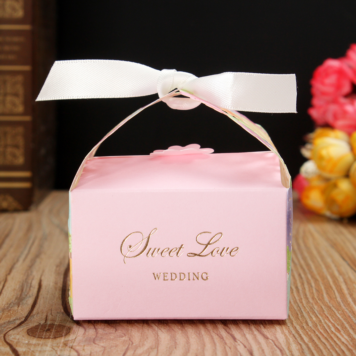 1 PCS Laser Cut Pink Flower Candy Box Floral Hollow Out Sweet Cake ...