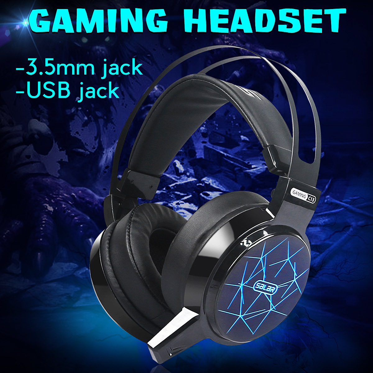 C13 Gaming Headphone 3.5mm Wired Adjustable Heavy Bass Over Ear Earphone Headset with Mic