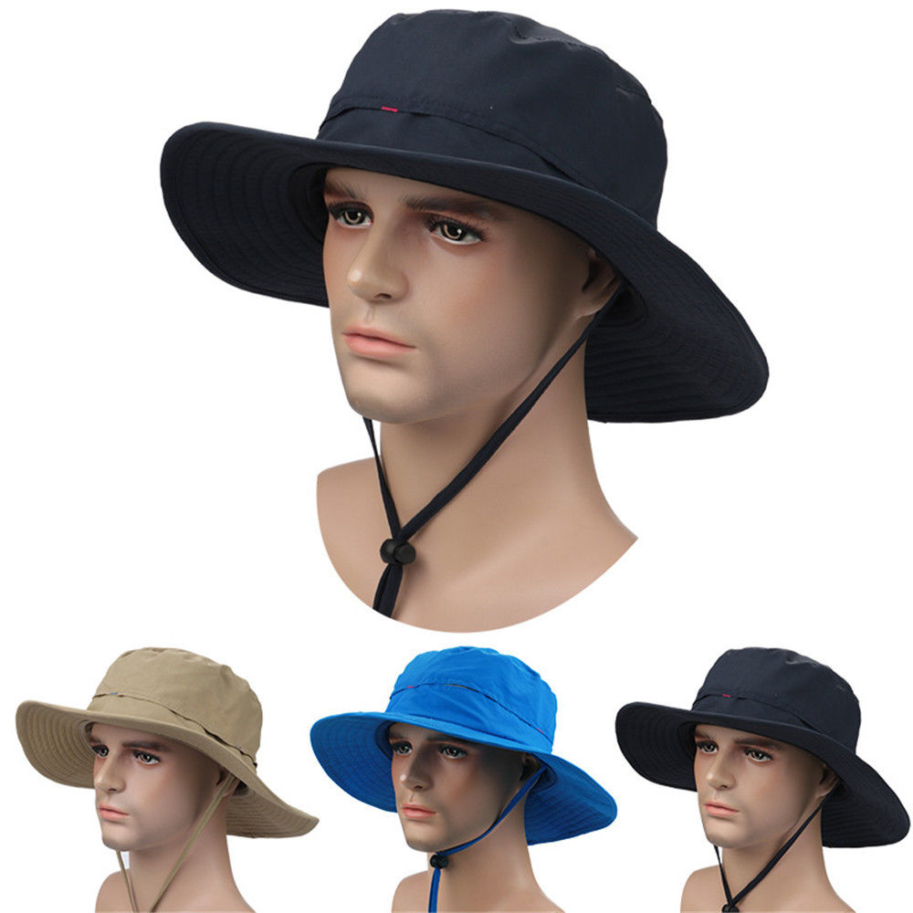 Men Women Taslon Wide Brim Outdoor Fishing Quick Drying Bucket Cap UV Protection Sun Hat