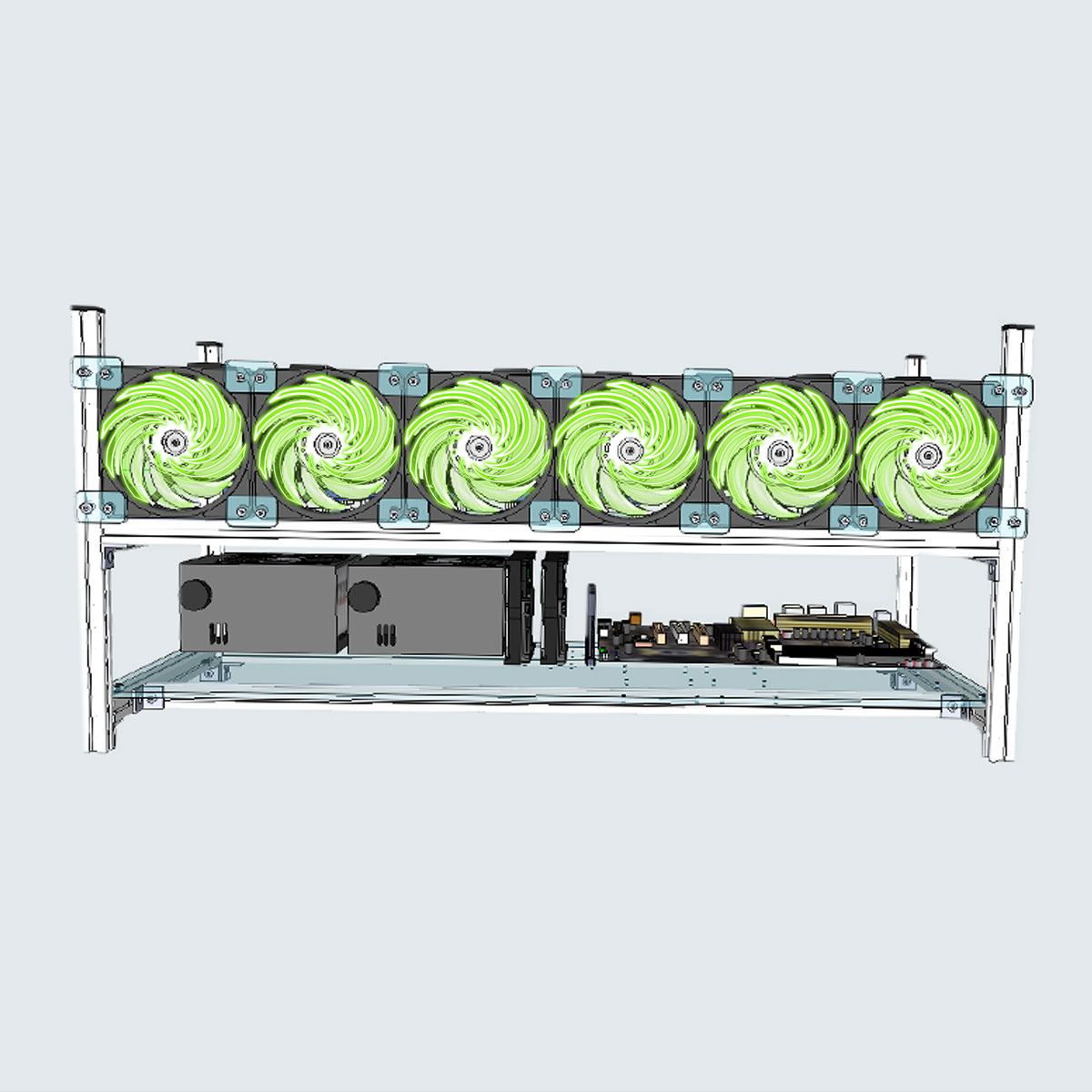 Aluminum Open Air Mining Rig Stackable Frame Case With Green LED 6 Fans For 8 GPU ETH BTC