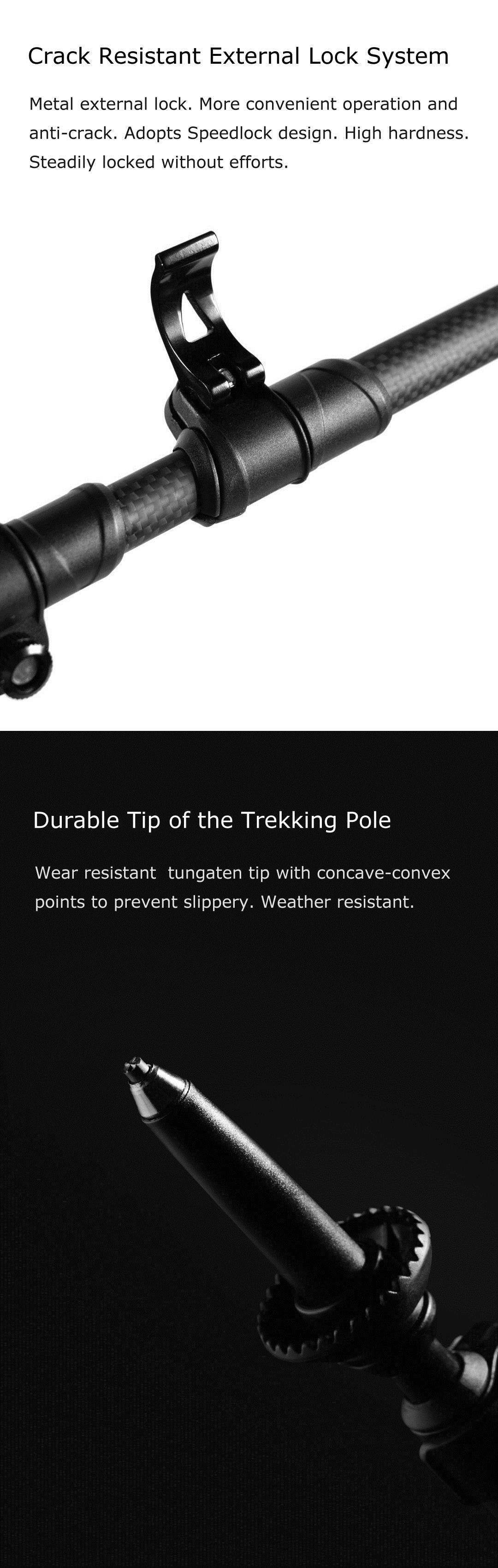 XIAOMI 3 Section Carbon Fiber Adjustable Canes Trekking Pole 222g Ultralight Anti-Slip Metal Lock Climbing Hiking Stick