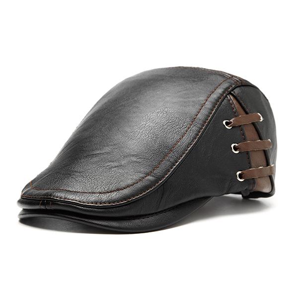Retro Artificial Leather Lace-up Adjustable Golf Beret Caps