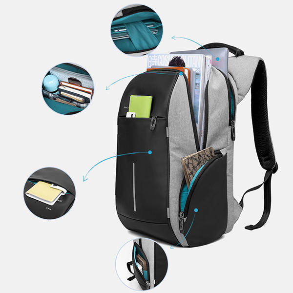 KAKA® Men Oxford Laptop Backpack Anti-scratch Travel Backpack with Back Reflectors