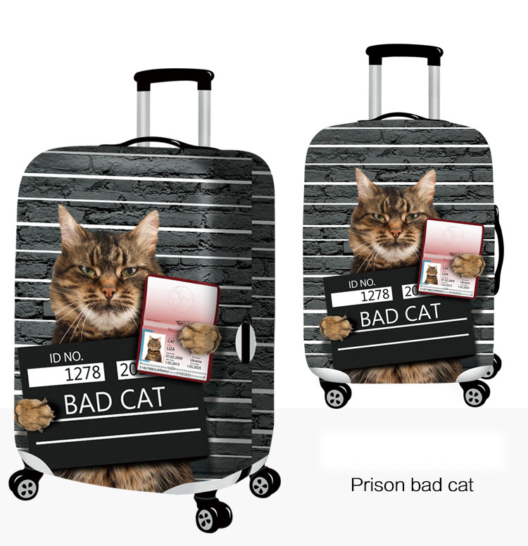Honana 3D Spoof Cat Elastic Luggage Cover Trolley Case Cover Durable Suitcase Protector for 18-32 Inch Case Warm Travel Accessories