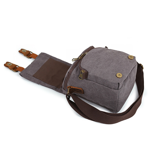 Canvas With Leather Water Resistant Casual Travel Camera Bag Crossboby Bag For Men