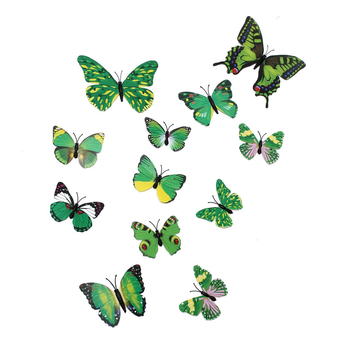 12Pcs 3D Stickers Green Butterfly Wall Decals Home Wedding Party Decoration