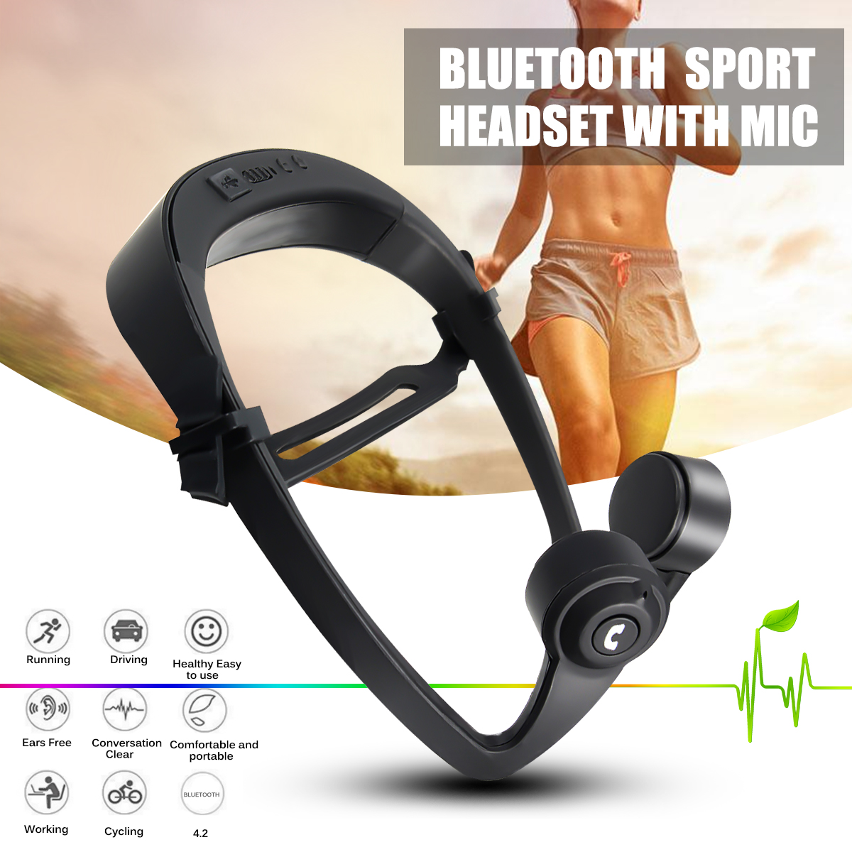 V9 Bone Conduction Wireless bluetooth Earphone Sports Headphone with Mic for iPhone 8 Samsung Xiaomi