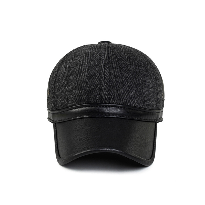 16b7cb3dbaea6 Unisex Earflap Ear Muffs PU Leather Woolen Stripe Baseball Cap Adjustable  Golf Sport Outdoor Hat