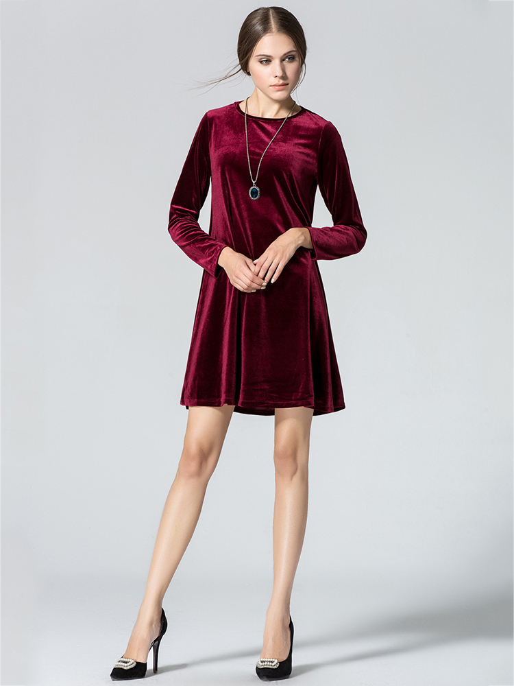 Elegant Women Long Sleeve Gold Velvet Round Neck A-Line Mini Dress
