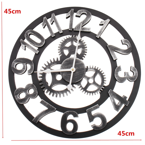 45cm Modern Art Design Silent Wall Clock Iron Metal Vintage Retro 3D Industrial Europe Style For Sitting Room Dining Room Bedroom Kitchen